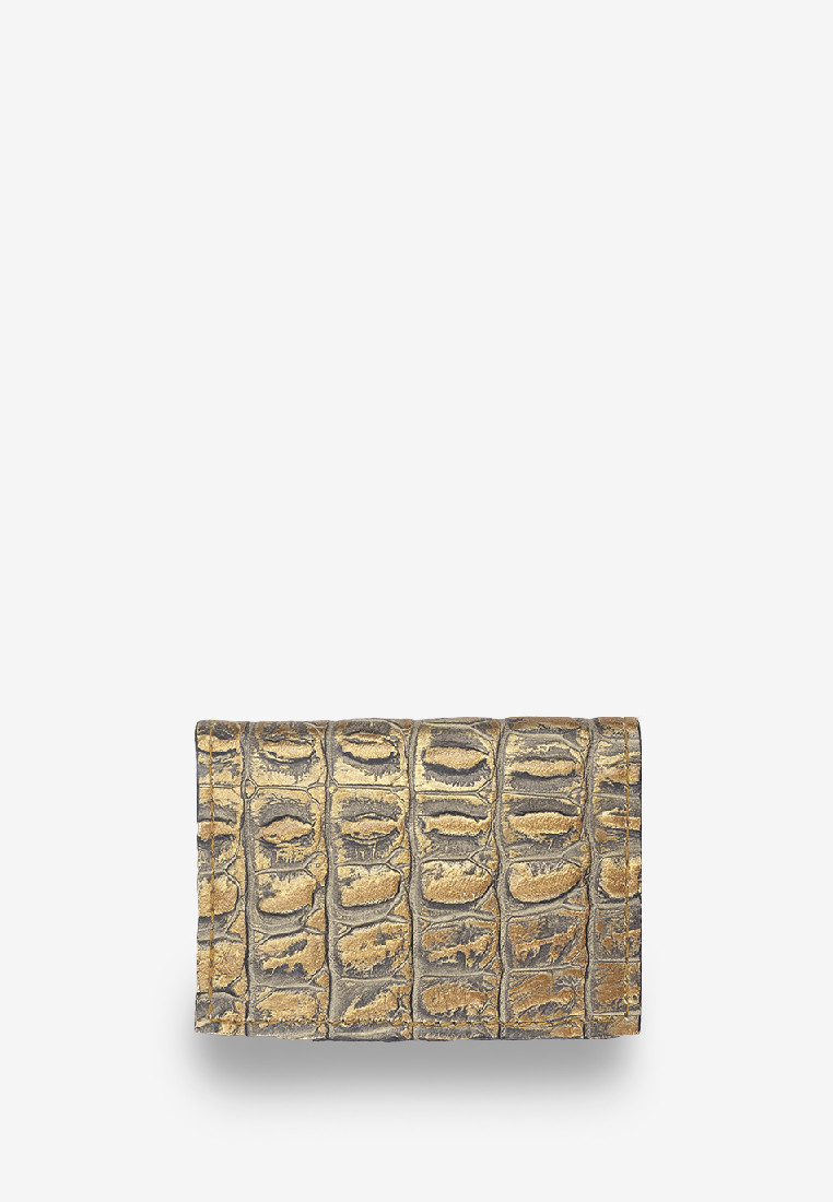 Gold Brown Croc Print Card Holder