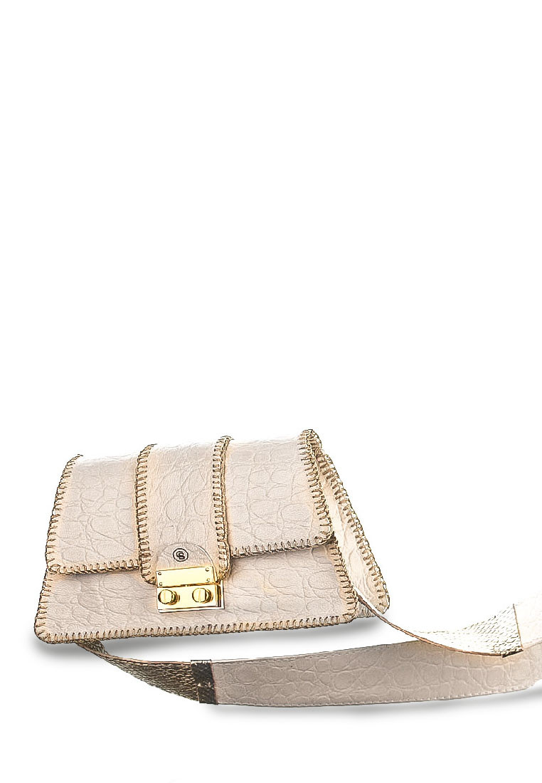 Harper Small Bag in White Leather Croc Print with Strap