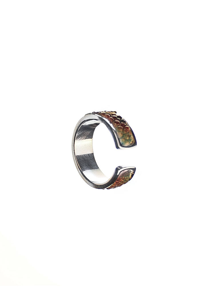 Sting Ray Leather Ring Silver CSHEON Designer Men and Women