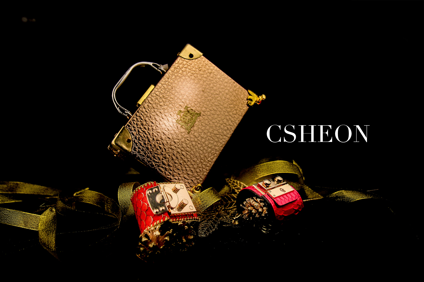 CSHEON Leather Bangles and Cuff Bracelet | Custom Made Gold Buckle