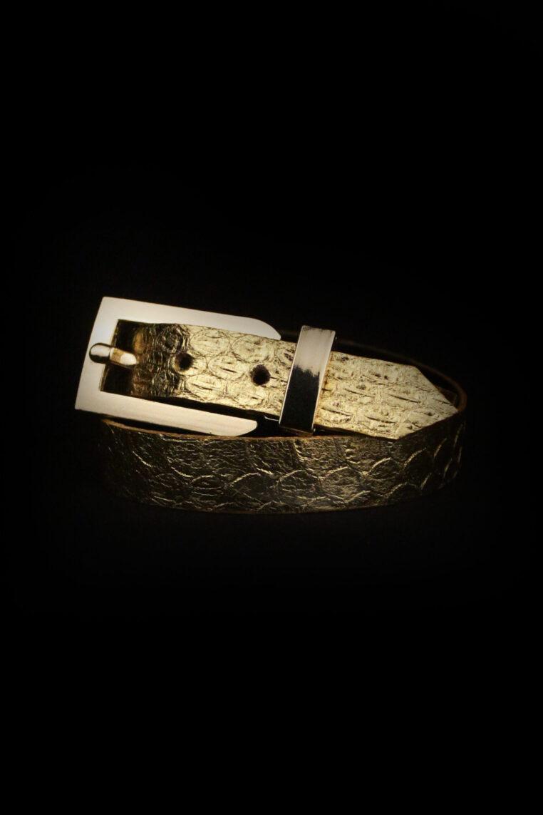 Arden Cuff Leather Yellow Snakeskin – Gold Metallic Snakeskin Grain Leather