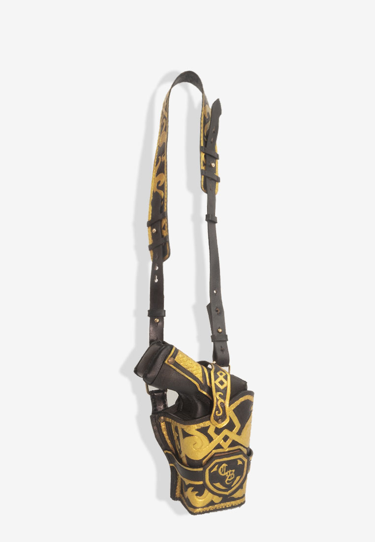 Pistol Pouch Hand Engraved Gold Vegetable Tan Leather Bag