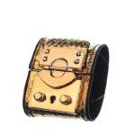CSHEON Gold Snakeskin Leather Bracelet Cuff rh120 1
