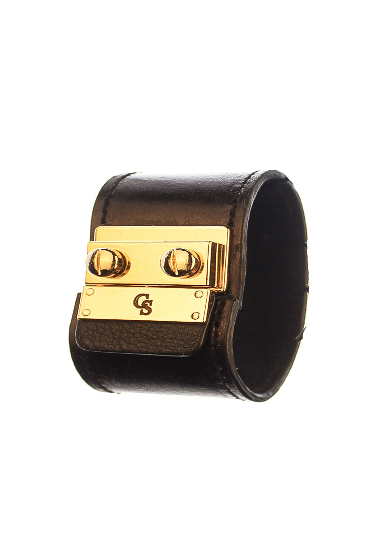 CSHEON Black Leather Cuff Bracelet rh130 1