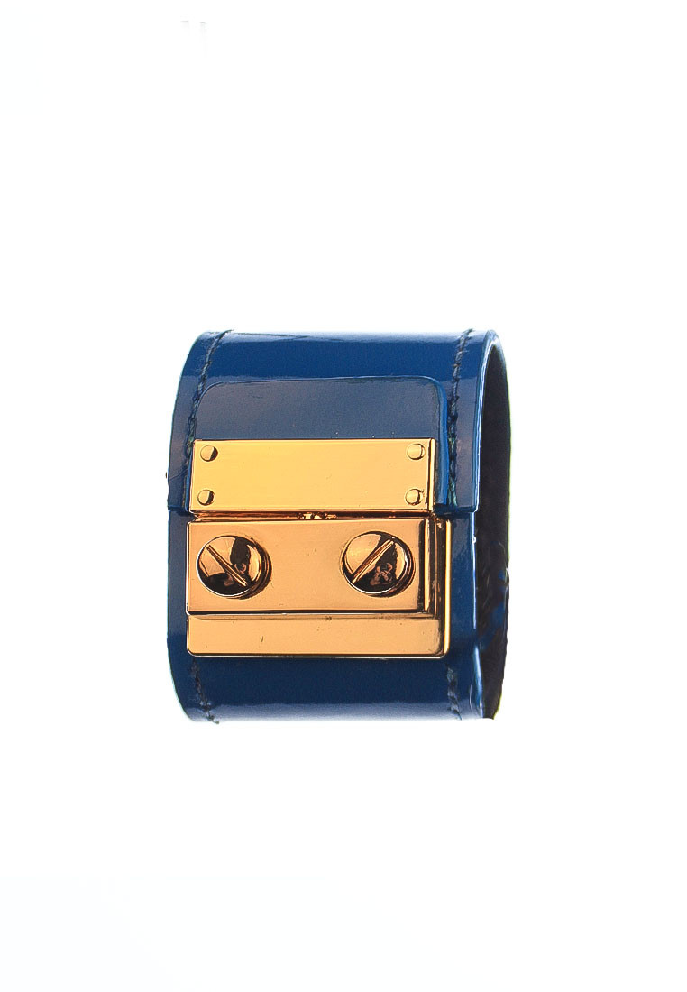 rh162 1 Blue Glossy Leather CSHEON Bracelet