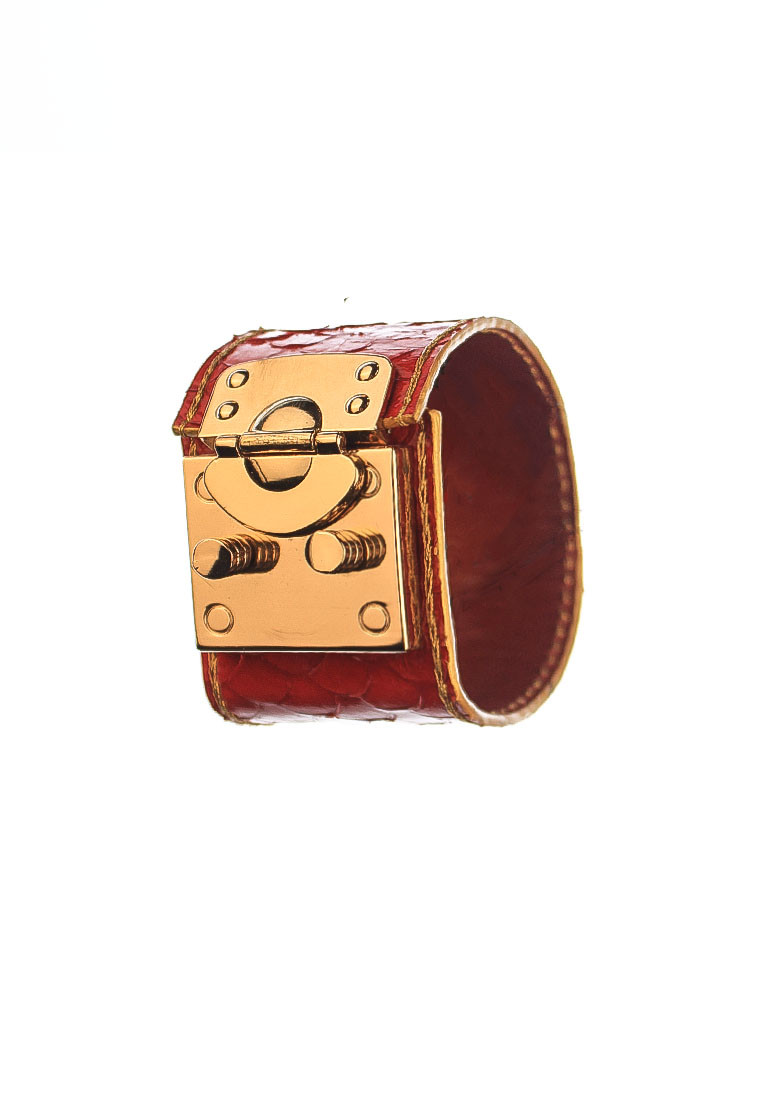 rh183 1 CSHEON Red Snakeskin Leather Small Accessories Bracelet