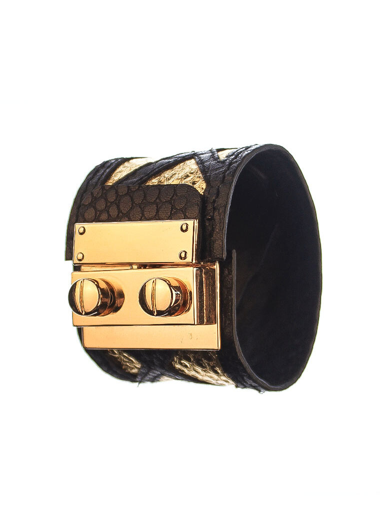 CSHEON Leather Cuff in Gold Snakeskin Black