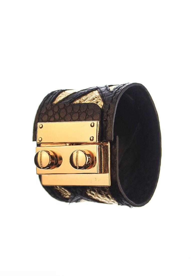 CSHEON Leather Cuff in Gold Snakeskin Black