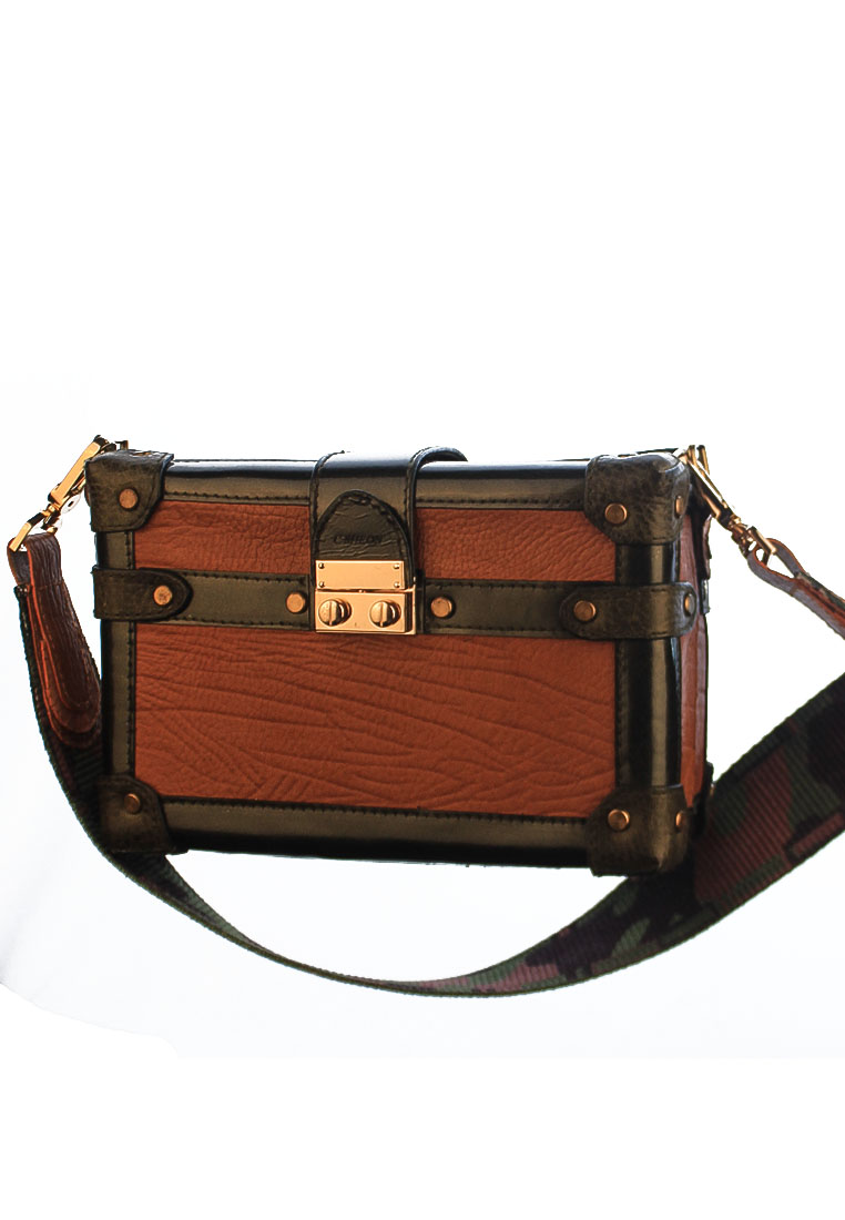 BOX CLUTCH BROWN