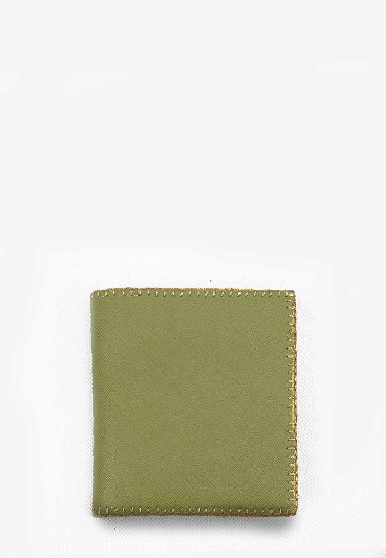 Bohemian Short Wallet Green Saffiano Genuine Leather