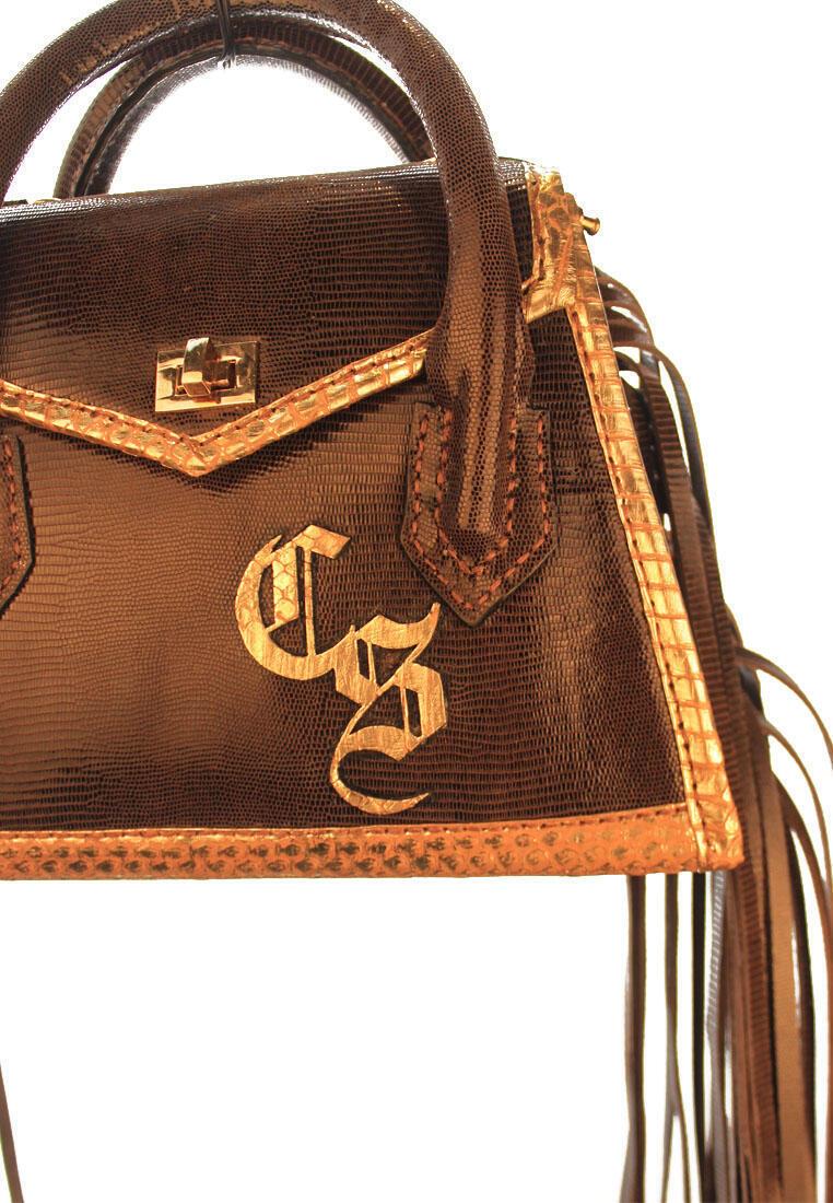 Aubree Fringe Bag in Dark Brown Lizard Skin