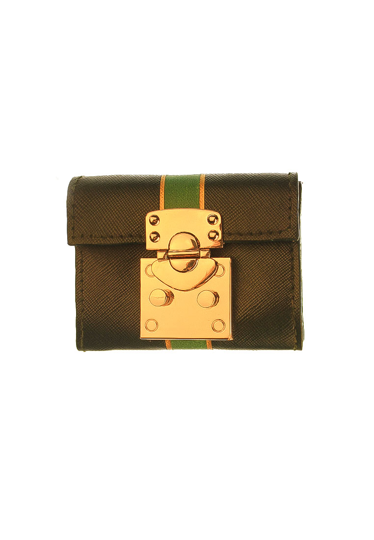 Treasure Chest Wallet Dark Green Saffiano with Painted Monogram