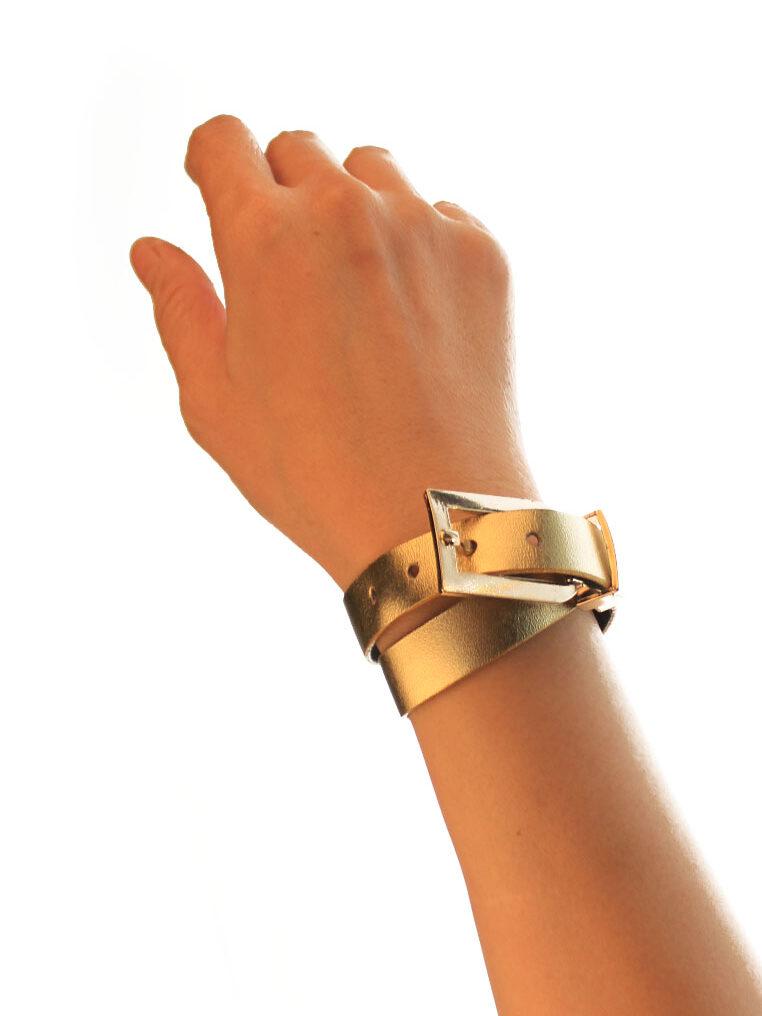 CSHEON Gold Leather Metallic Bracelet Cuff Men and Women