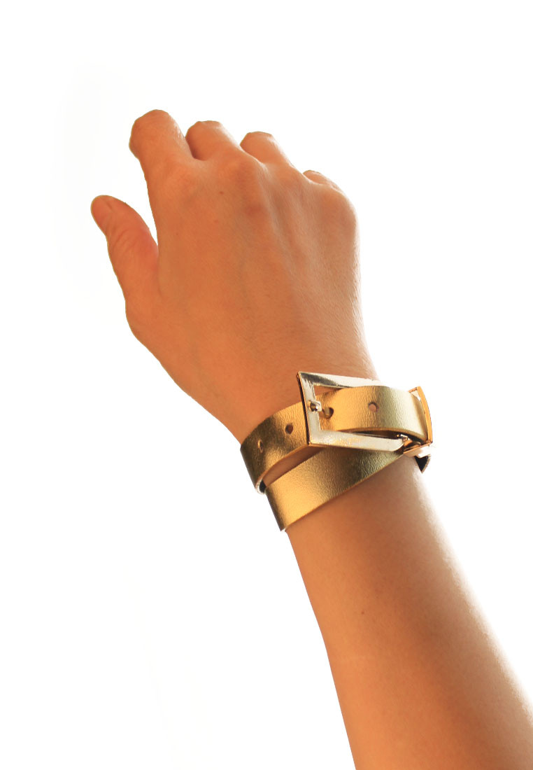 CSHEON Gold Leather Metallic Bracelet Cuff Men and Women