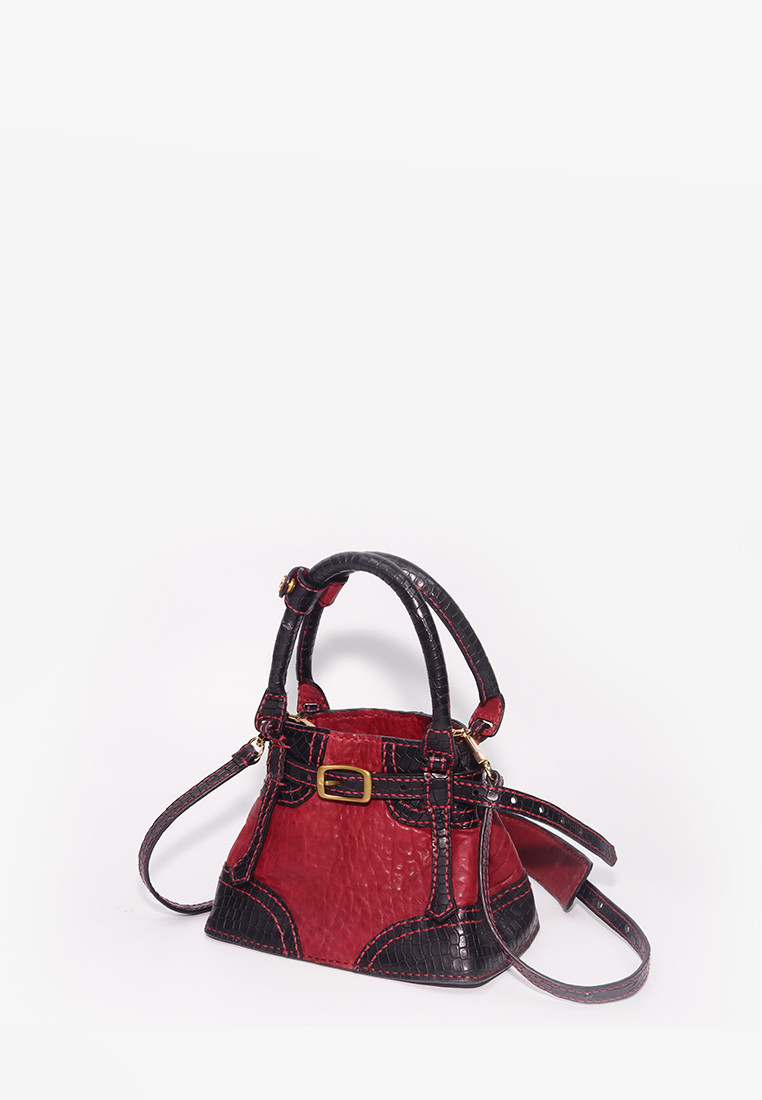 Red Black Exotic Bucket Bag by CSHEON Leather Atelier – Small