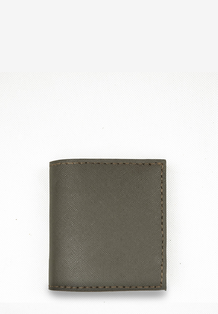 Deep Green Saffiano 'Stairs Interior' Short Wallet Genuine Leather
