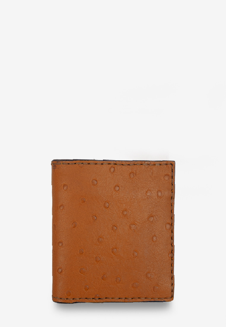 Orange Brown Ostrich Skin Leather 'Stairs Interior' Short Wallet