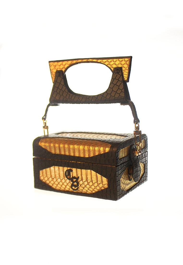 jewelbox CSHEON Clutch Gold Snakeskin