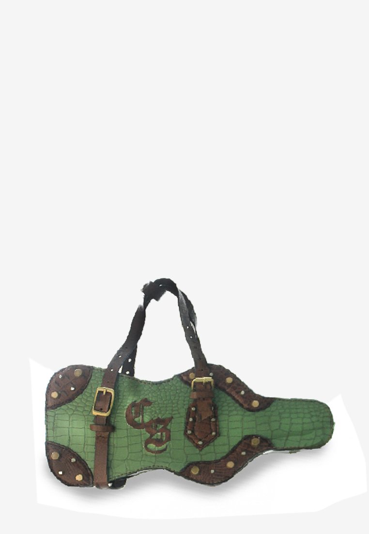 Vayaliṉ 3D Bag with Green Croc Print Genuine Leather and Strap