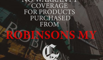 NOTICE: NO WARRANTY COVERAGE FOR PRODUCTS PURCHASED FROM ROBINSONS MY