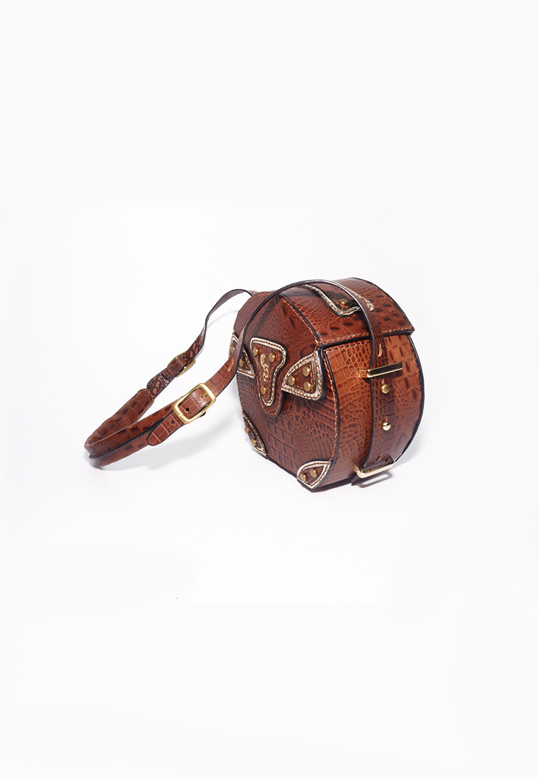 Grenette Round Croc Print Leather Bag With Long Strap