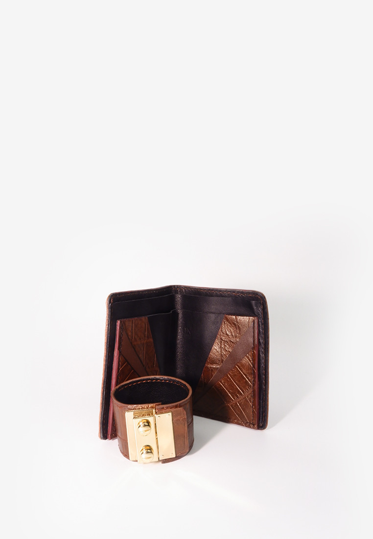 Brown Croc Print Short wallet and matching Cuff Set
