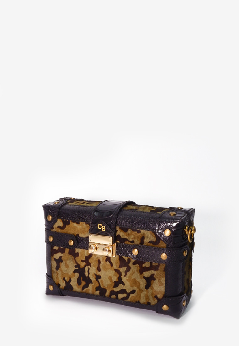 Trunk Box Bag Camouflage Pony Leather with Strap