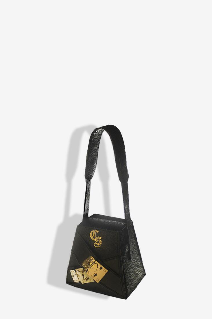 Prism Black Genuine Leather Box Bag – Small Size