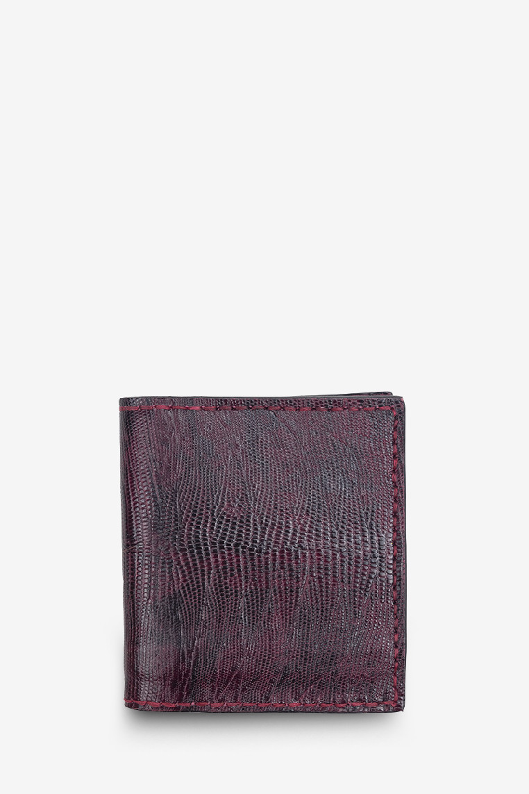 Purple Red Exotic Lizard Genuine Leather 'Stairs Interior' Short Wallet