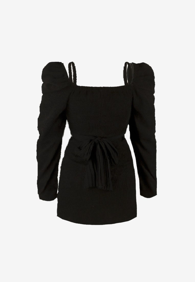 Puff Sleeves Velvet Black Gold Studs Dress