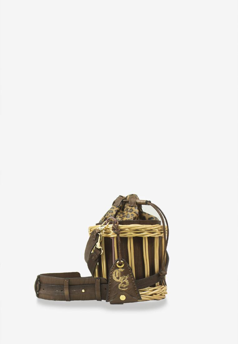 Brown Leopard Lambskin Leather Bucket Rattan Bag