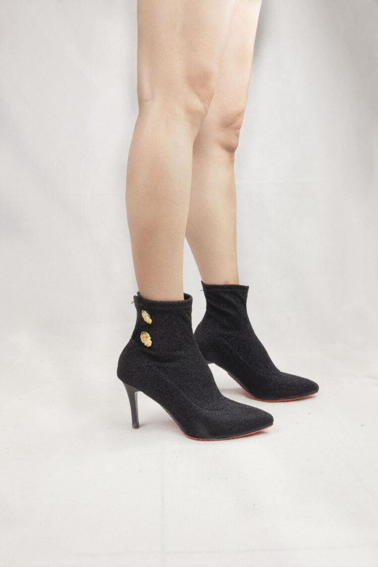 Ankle Hugging Sock Boots with Logo Gold Buttons