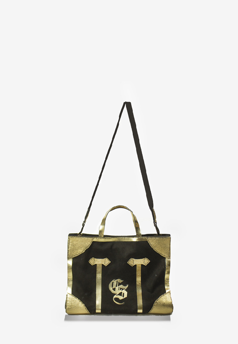 Black Canvas Minzy Gold Leather Details Bag with Strap