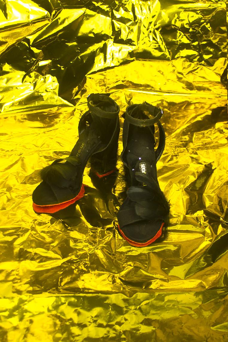 Leah Feather Heels in Black