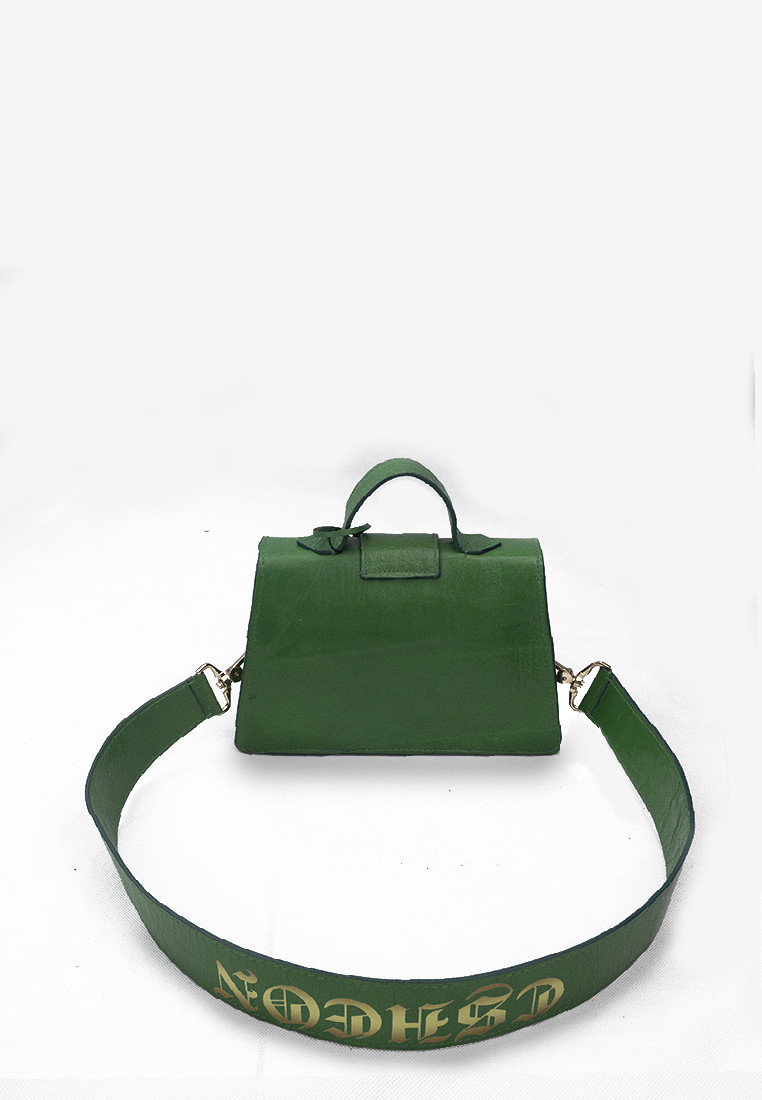 Leighton Bag Green Calfhide Leather with Gothic Logo