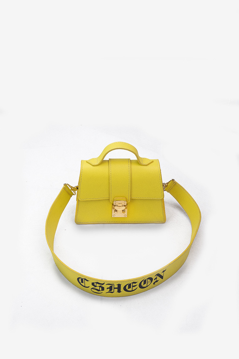 Leighton Bag Yellow Calfhide Leather with Gothic Logo