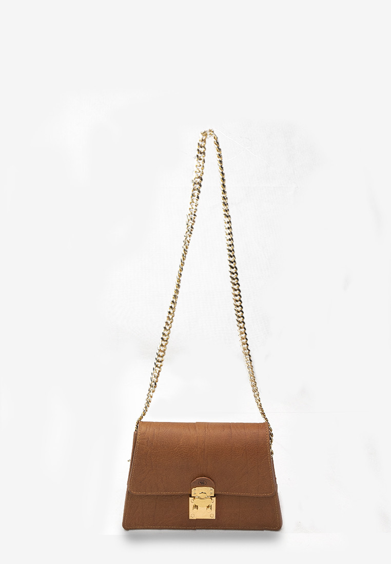 Leighton Bag Brown Calfhide Leather with Gold Chain