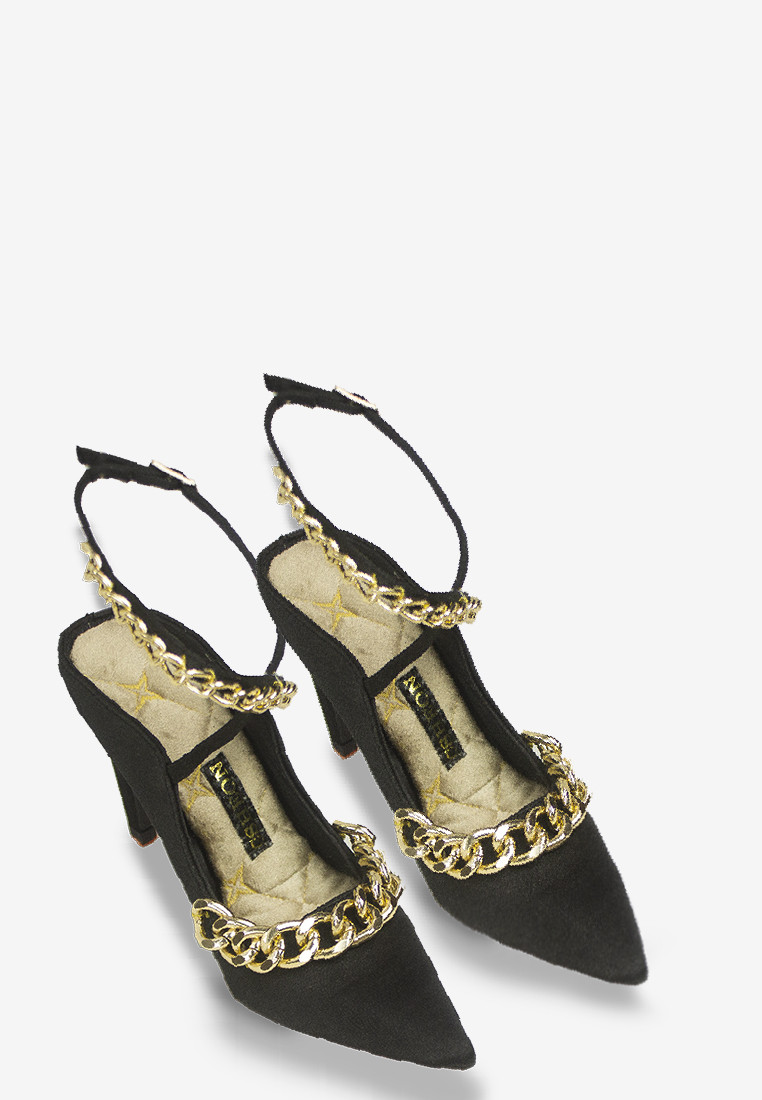 Double Gold Chained Open Back Pumps