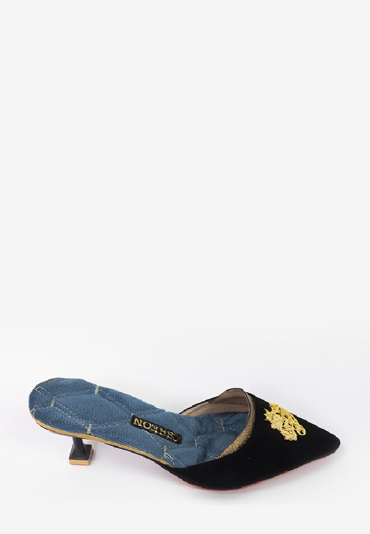 Gold Logo Slipper Heels