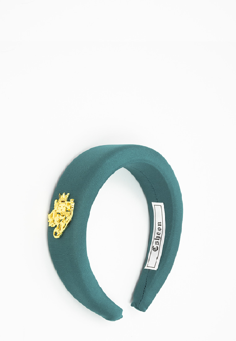 Nylon Headband with Gold Logo in Aqua Green
