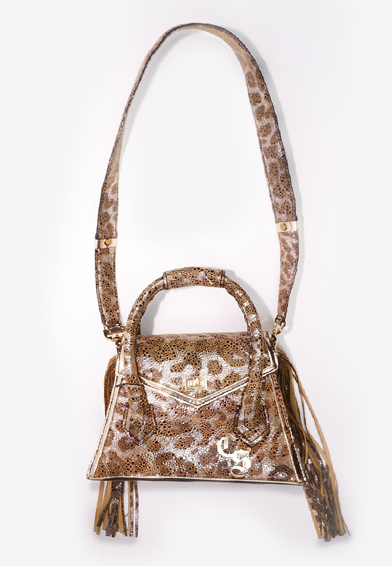 Aubree Fringe Bag in Glossy Leopard Design Leather