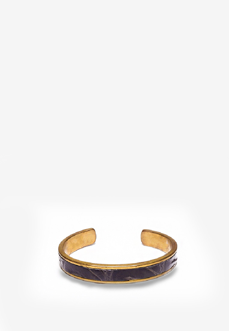 EL BANGLE 14K GOLD PLATED CROC SKIN BLACK LEATHER