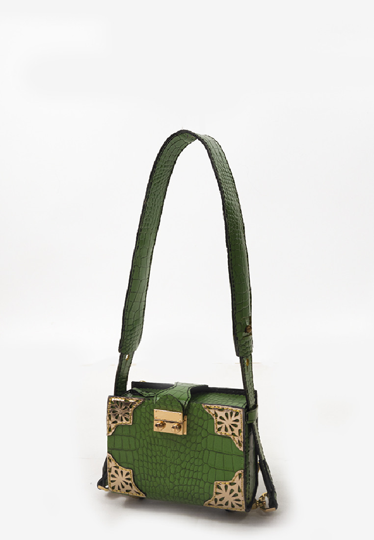 Fairy Tale Clutch / Bag in Croc Print Green