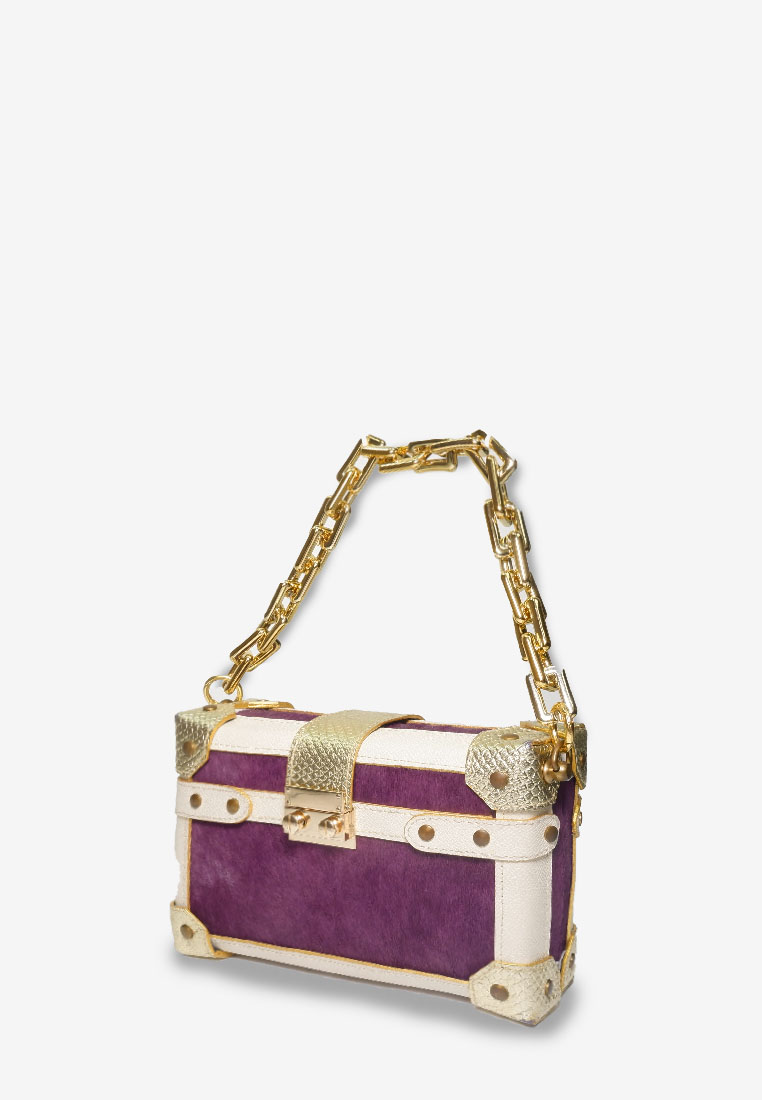 Box bag Purple with Gold Chain