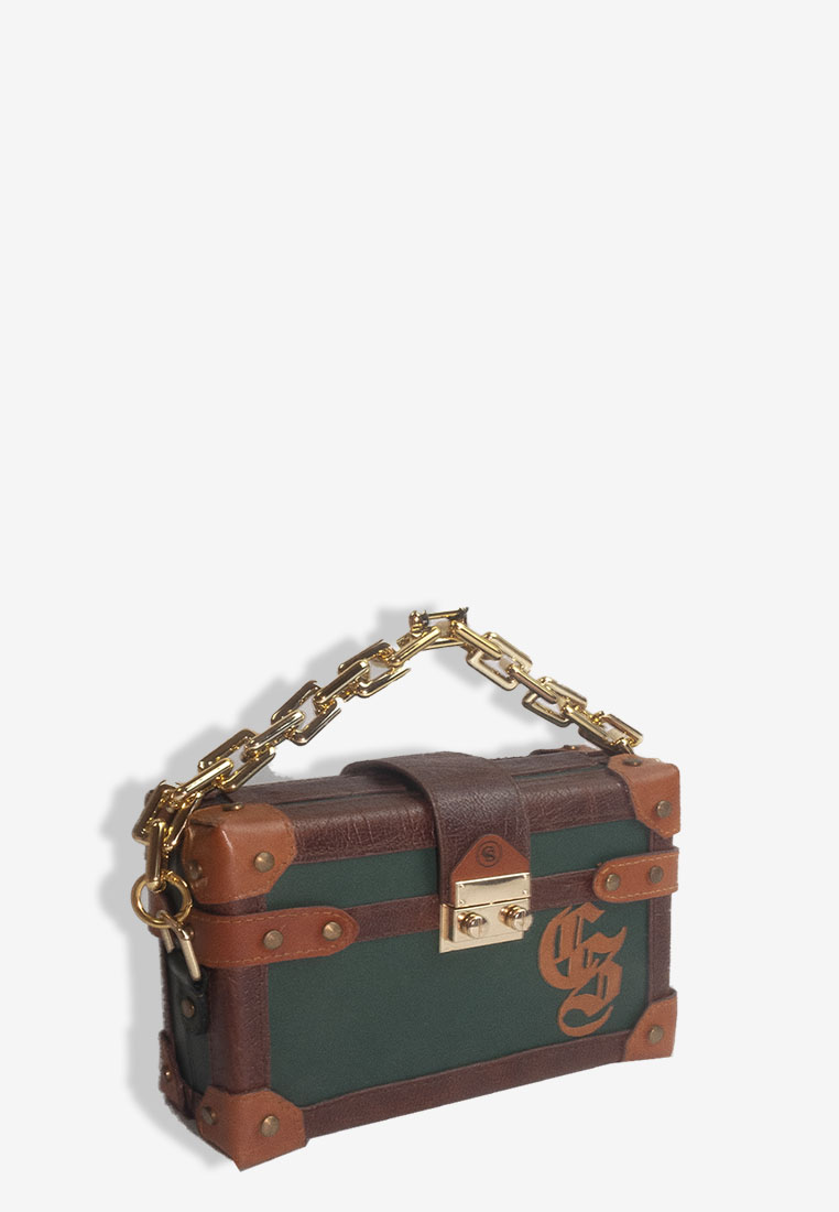 BOX CLUTCH PONYFUR BROWN TONE TRUNK BAG WITH GOLD CHAIN