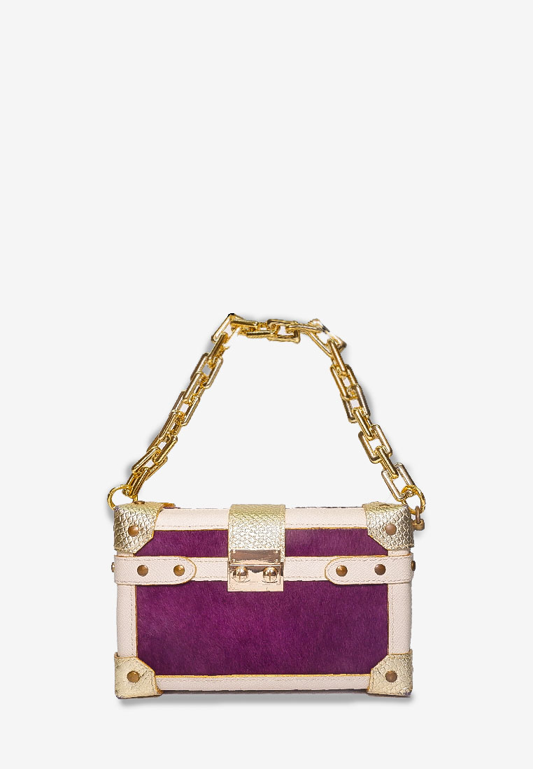 BOX CLUTCH PURPLE PONYFUR BEIGE BAG WITH GOLD CHAIN