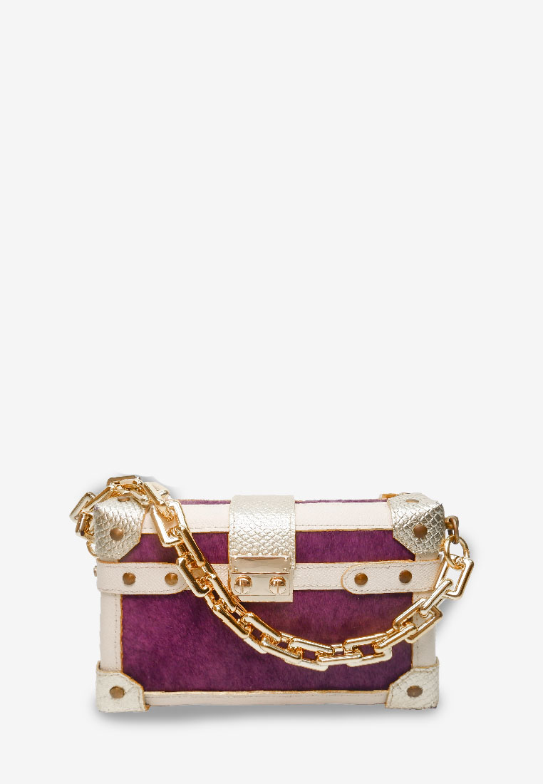 purple designer box bag