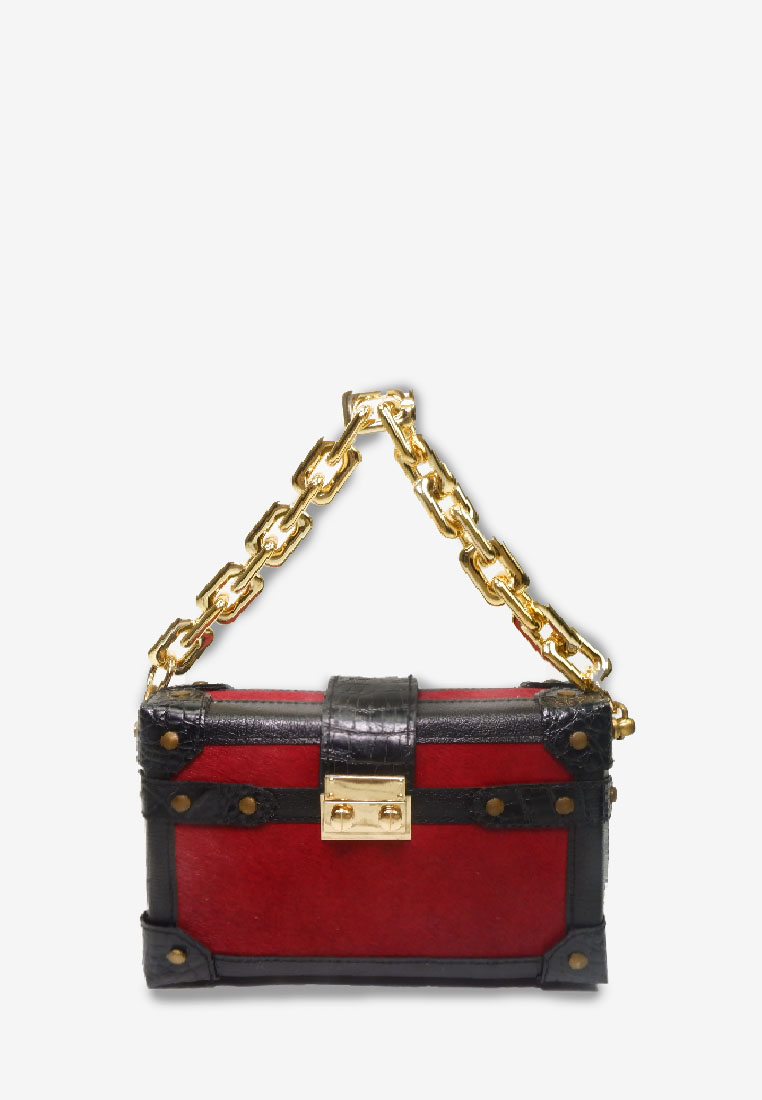 Red Black Box Bag LV Cain