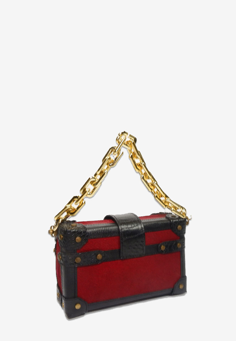 BOX CLUTCH PONYFUR RED BLACK BAG WITH GOLD CHAIN