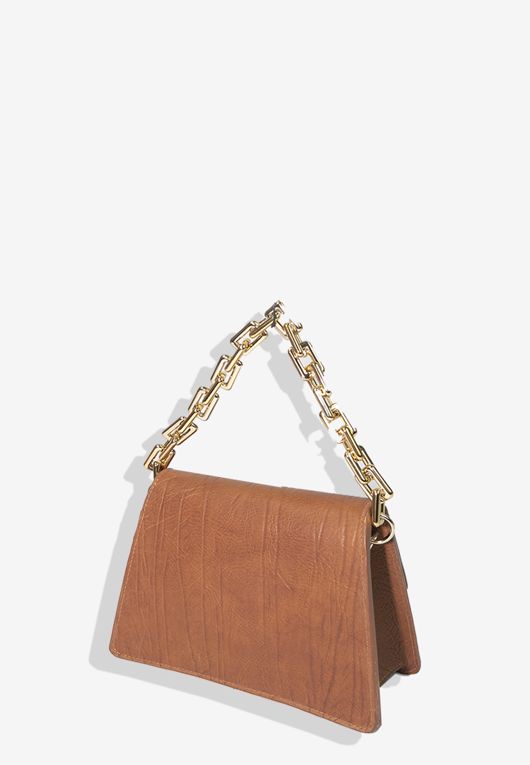 Harper bag Brown Grain Leather with Gold Chain Medium